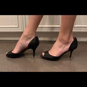 Kate Spade Glitter Black Heels Size 8